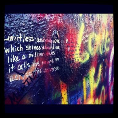 Visiting the John Lennon wall.